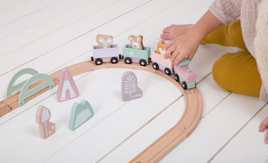 Little Dutch Holz Eisenbahn Set, Adventure pink