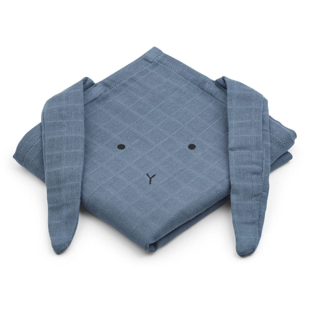 Liewood Hanna Muslin cloth rabbit blue wave 2 pack