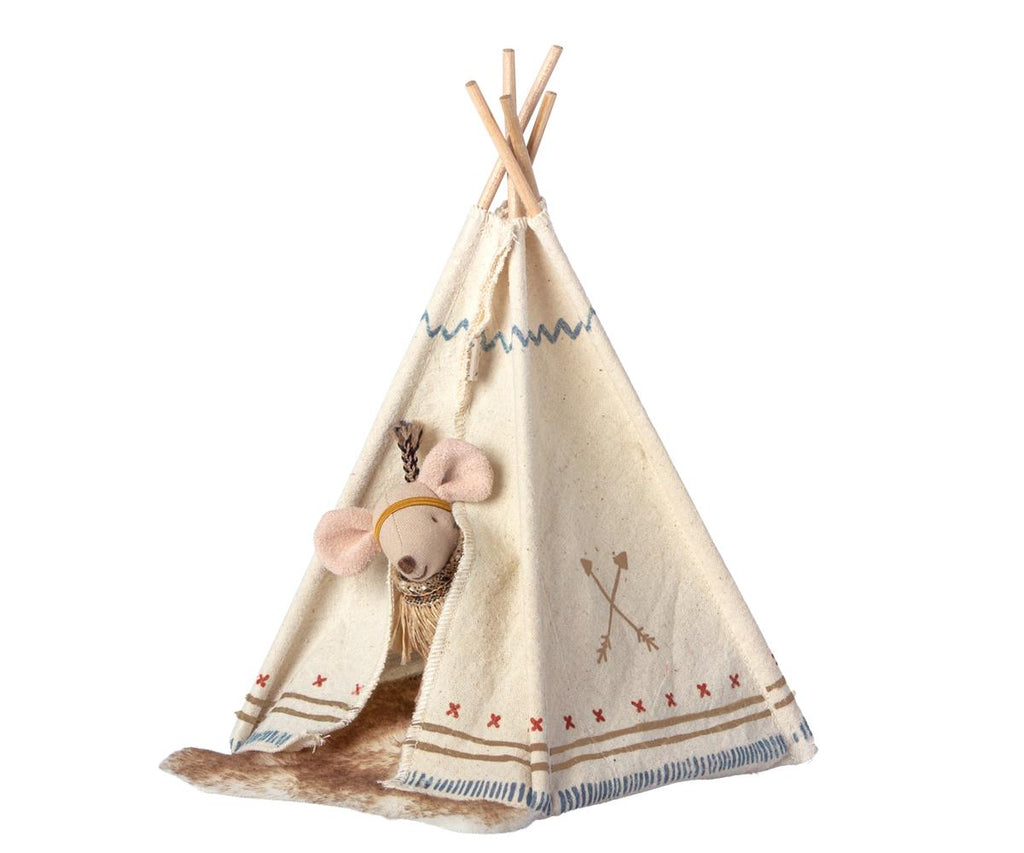Maileg Little feather mit Tipi Indianer mouse, Little sister