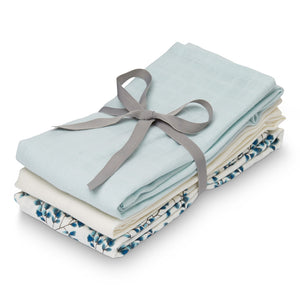 Cam Cam Copenhagen Muslin Cloth, Mix 3 pack - GOTS Fiori, Light Blue, Crème White