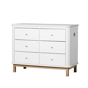 Oliver Furniture grosse Kommode Wood Collection mit 6 Schubladen, weiss/Eiche