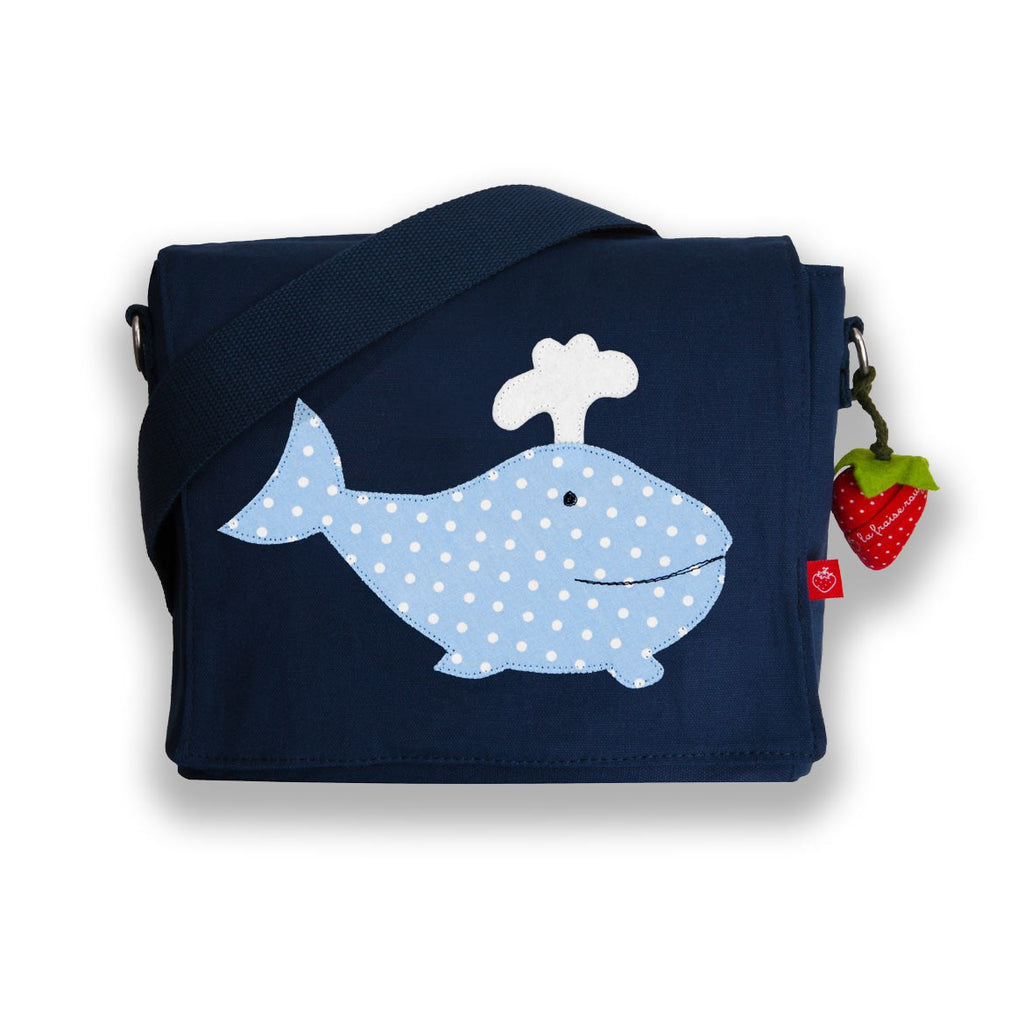 Kindergartentasche Canvas Wal blau