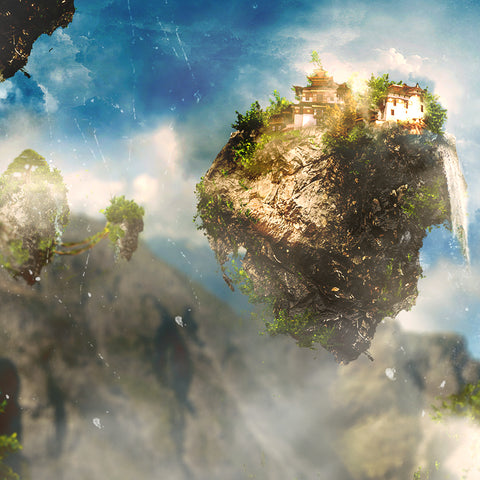 PSD File - How to Create Beautiful Alien Landscape with Floating Rocks in Photoshop