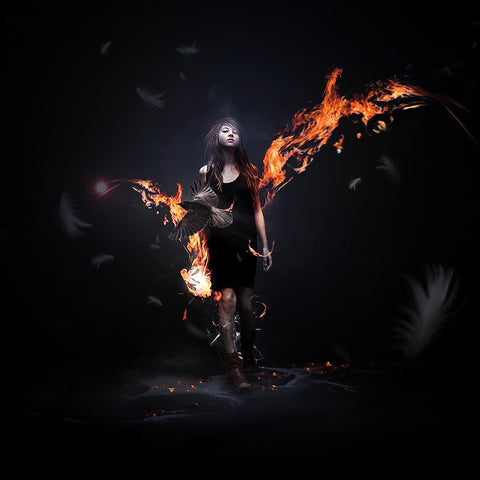 PSD File - Design Awesome Supernatural Dark Scene with Fiery Effect in Photoshop