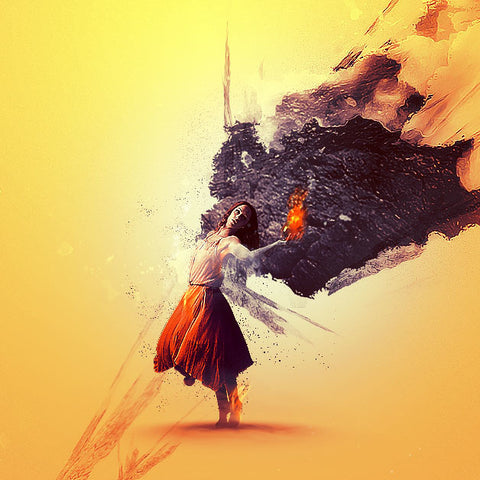 "PSD File - Design ""Lady Holding a Fire Orb"" Photo Manipulation in Photoshop"