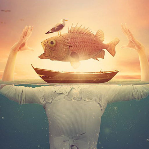 "PSD Files - Create Surreal Underwater Scene in Photoshop - Featuring a ""Fish-Head"" Lady"