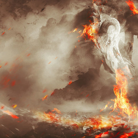 PSD File - Create Fiery Dragon Ravaging Mountain Village Scene in Photoshop