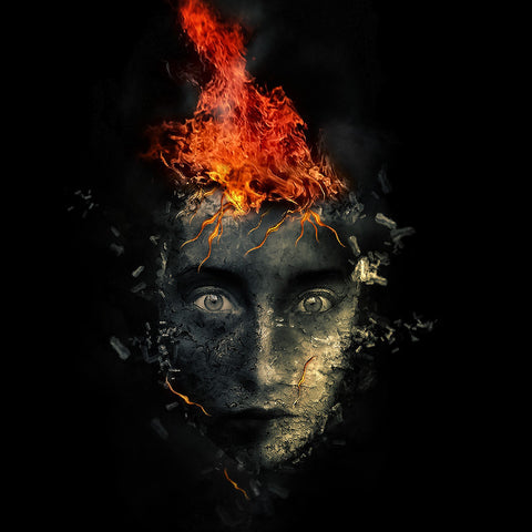 PSD File - Create Surreal Human Face with Flame Hair and Disintegration Effect in Photoshop