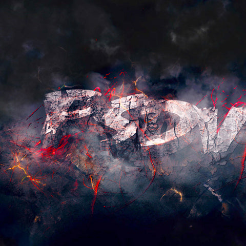 PSD File - How to Create Rock 3D Text Effect with Flying Fire Sparks in Photoshop
