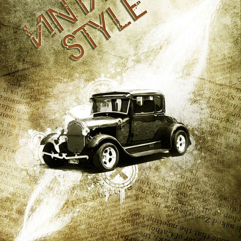 PSD File - Design a Vintage Car Poster with Grunge Texture, Font and Brushset in Photoshop