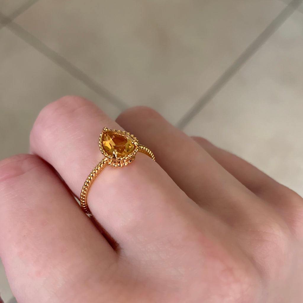 Citrine Sun Drop Ring