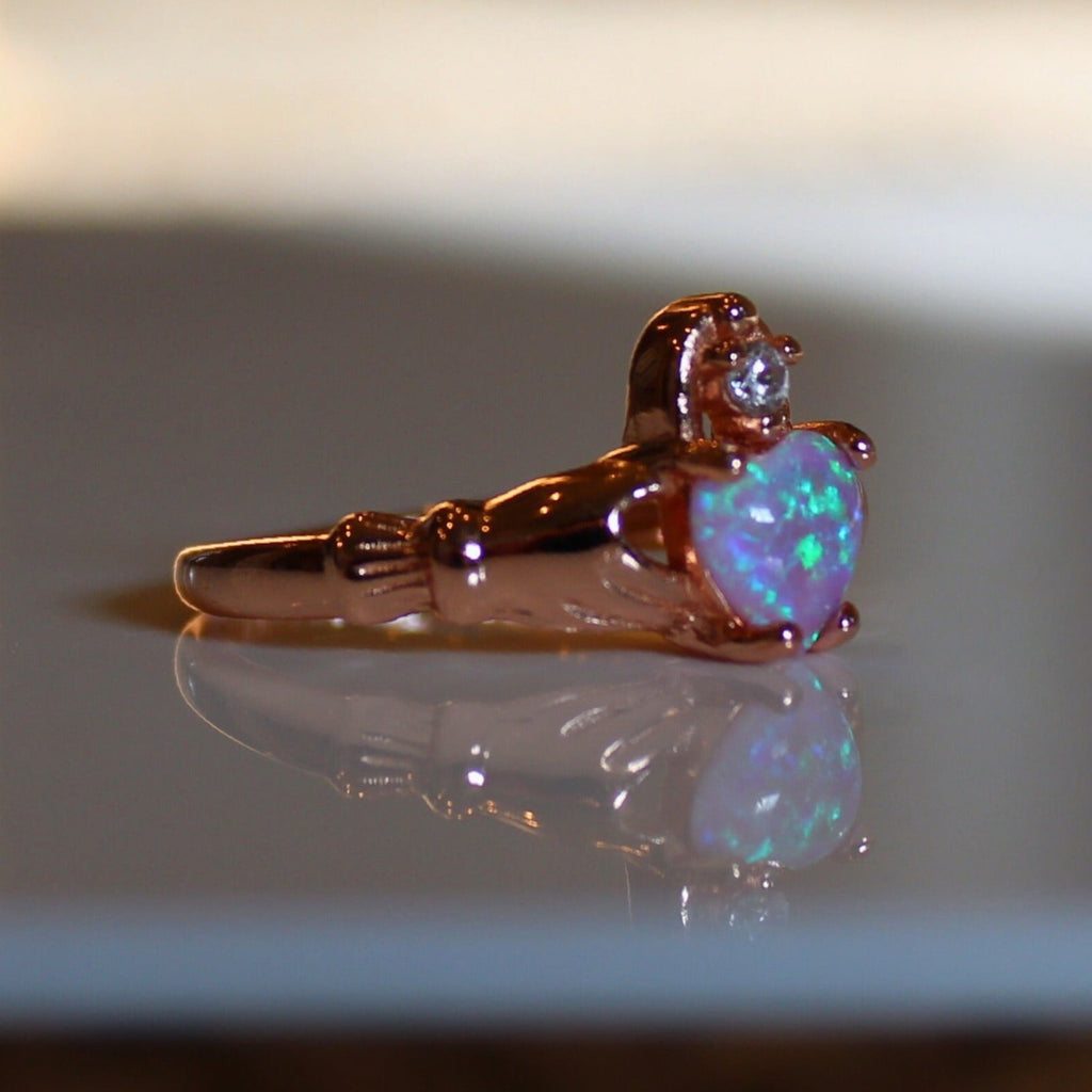 Pink Opal Claddagh Ring