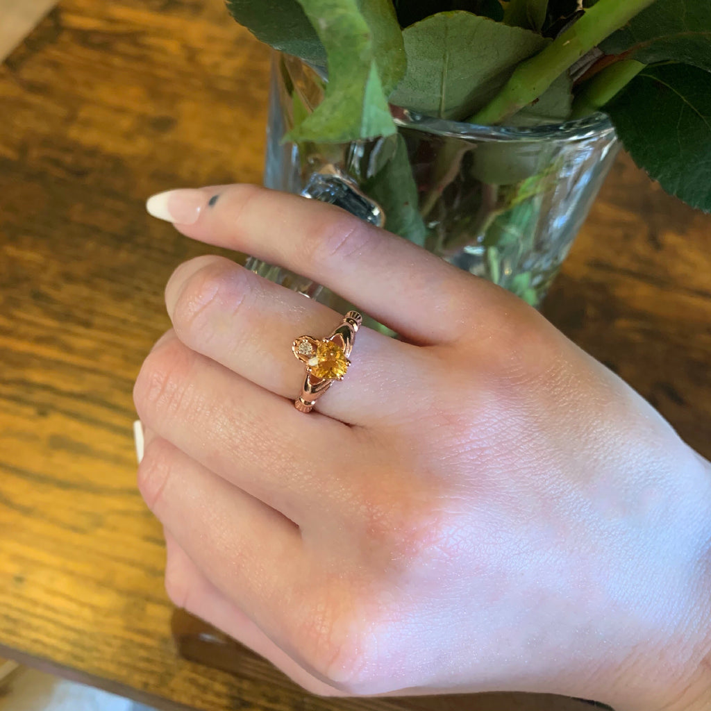 Natural Citrine Claddagh * Rose Gold Vermeil