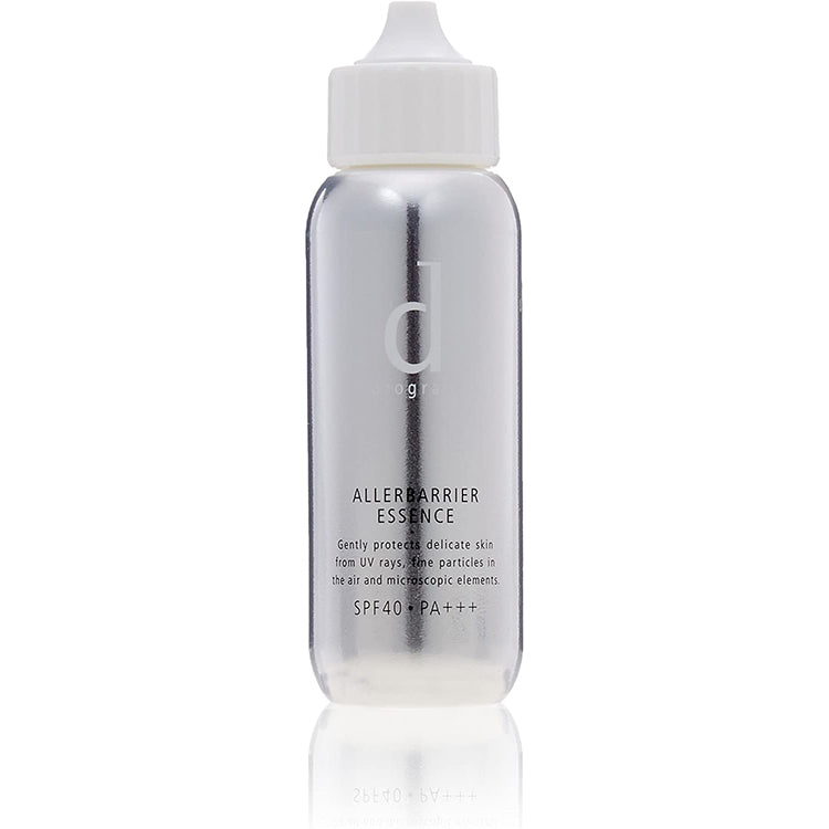 D PROGRAM SPECIAL CARE ALLERBARRIER ESSENCE SPF40 PA+++ 40ML, A Paraben (preservative), alcohol (ethyl alcohol and mineral oil free UV protector. Waterproof and can be washed off with a standard facial wash. Also suitable to use as a make up base. No fragrance or coloring.  Made in Japan