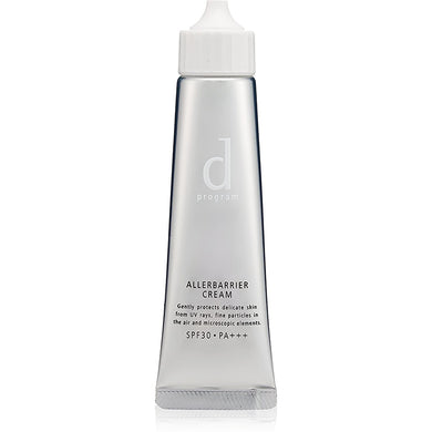 D PROGRAM ALLERBARRIER CREAM SPF30 PA+++ 35G Protect your skin from fine dirt and UV light in the air with Allerbarrier technology. It can be used as a makeup base and is suitable for sensitive skin even for a baby. Keep your skin moisturised while giving SPF30 PA+++ protection.