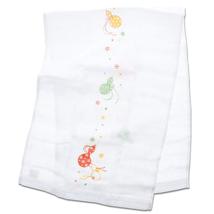 Imabari Towel Face Towel Hagoromo Gauze Flower Gourd Blue 33�~ 95 cm