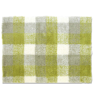 OKA �yWater Absorption Anti-bacterial Deodorization�z Easy Dry Harmony Checks Bath Mat Approx. 45�~60cm Green