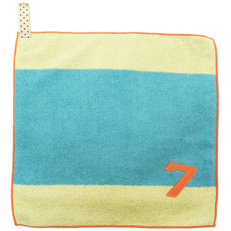�yIMABARI Towel�z mama&me NUMBER-COLOR Kids Hand Towel (Length 28�~ Width 29cm) Turquoise  (NO.7)