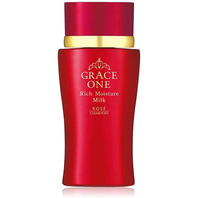 KOSE Grace One Rich Moisture Milk (Milky Lotion) 130ml Japan Anti-aging Collagen Astaxanthin Skin Care (Above 50 years)