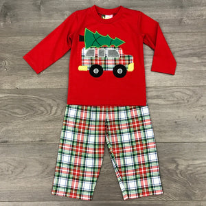 CHRISTMAS TIME BOYS APPLIQUE T-SHIRT AND PANTS