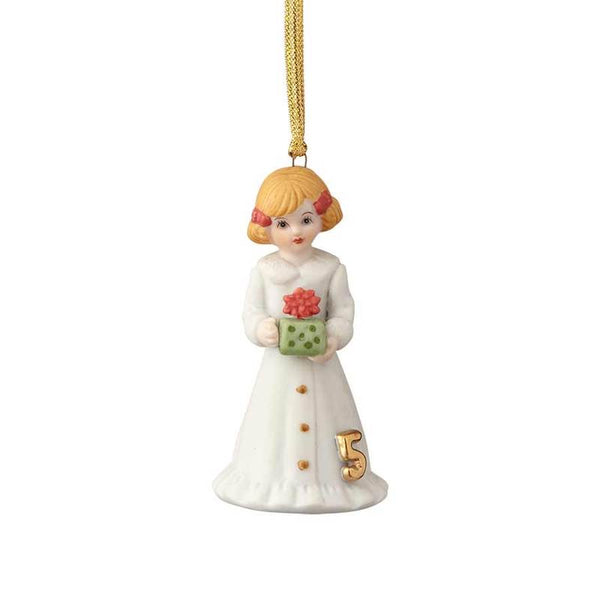 """Blonde Age 5"" porcelain ornament from the Growing Up Girls collection in giftable box"