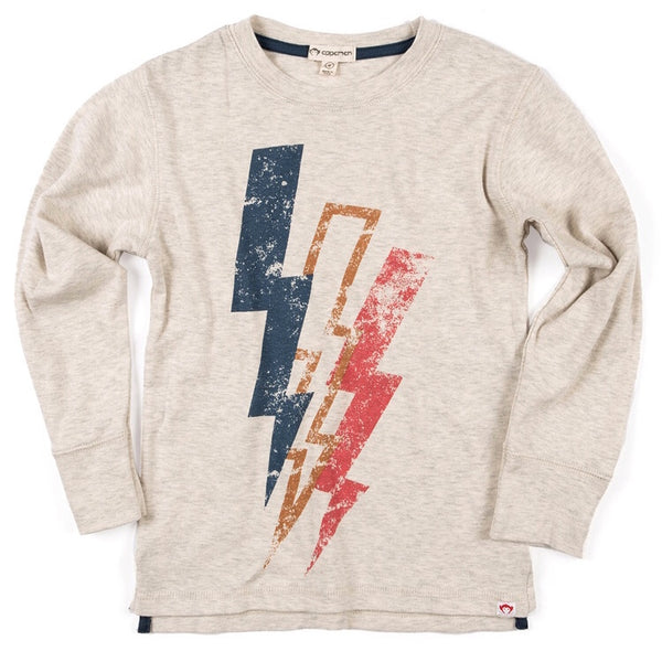 Graphic Long Sleeve Tee- Lightning Bolt