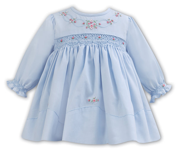 LS BLUE DRESS WITH ROSEBUDS AND SMOCKING
