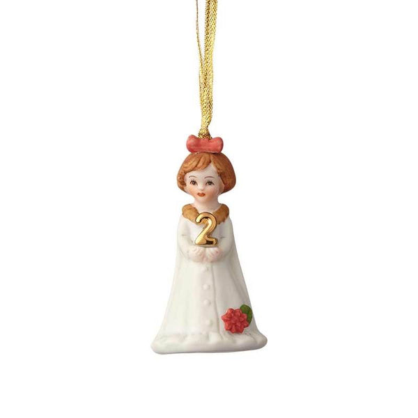 """Brunette Age 2"" porcelain ornament from the Growing Up Girls collection in giftable box"