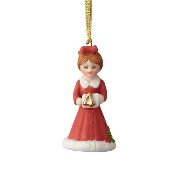 """Brunette Age 4"" porcelain ornament from the Growing Up Girls collection in giftable box"
