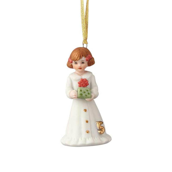 """Brunette Age 5"" porcelain ornament from the Growing Up Girls collection in giftable box"