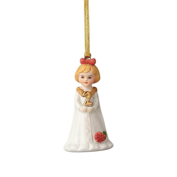 """Blonde Age 2"" porcelain ornament from the Growing Up Girls collection in giftable box"