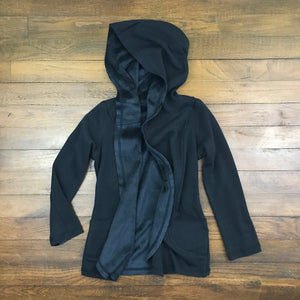 HOODED FLEECE REVERSIBLE JACKET