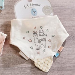 Cotton Bib with Rubber Teether Lil' Llama