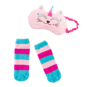 PLUSH CATICORN SLEEP MASK/SOCK SET