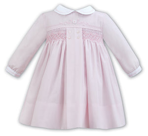 LS PINK DRESS WITH COLLAR AND SMOCKING