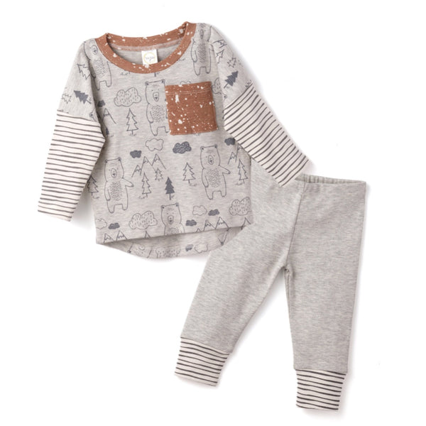 BEAR AND SKETCHY STRIPES POCKET TOP & PANTS