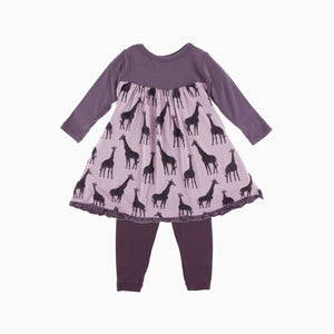 LS CLASSIC SWING DRESS & LEGGING SET - SWEET PEA GIRAFFE