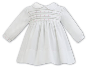 LS SMOCKED DRESS WITH DETAIL