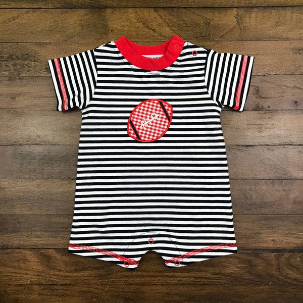 RED FOOTBALL BOY'S ROMPER