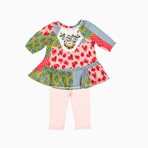 EMBROIDERED FLOWERS 2PC SET