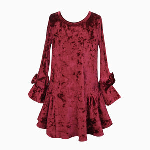 VELVET DRESS WITH BOW DETAIL