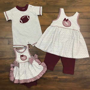 MAROON FOOTBALL BOY'S ROMPER