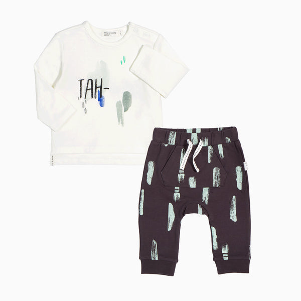 LS T-SHIRT AND KNIT PANT SET