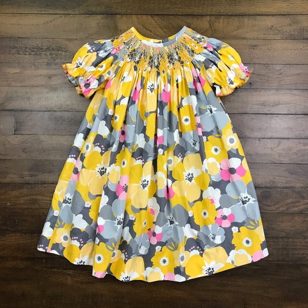 GREY AND YELLOW FLORAL BISHOP DRESS