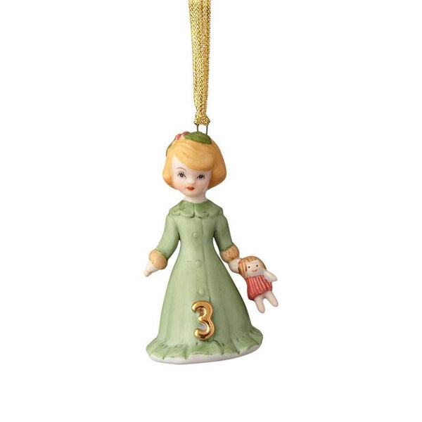 """Blonde Age 3"" porcelain ornament from the Growing Up Girls collection in giftable box"