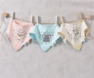 Cotton Bib with Rubber Teether