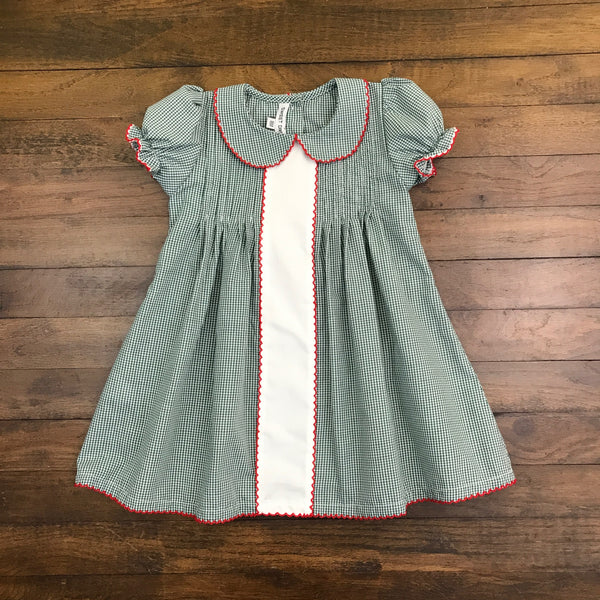 RED PICOT TRIM ON GREEN CHESS DRESS
