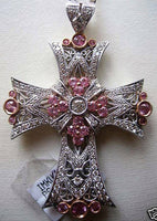 "Pink Sapphire & White Diamond Cross Pendant 18k White Gold 2 1/2"" Long (New)"