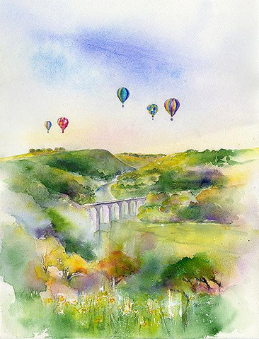 Balloons Over Monsal Derbyshire Print