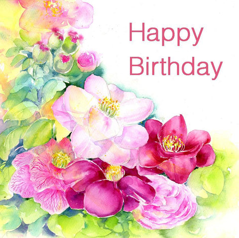 Camellias Flower Happy Birthday Card-Sheila Gill Fine Art